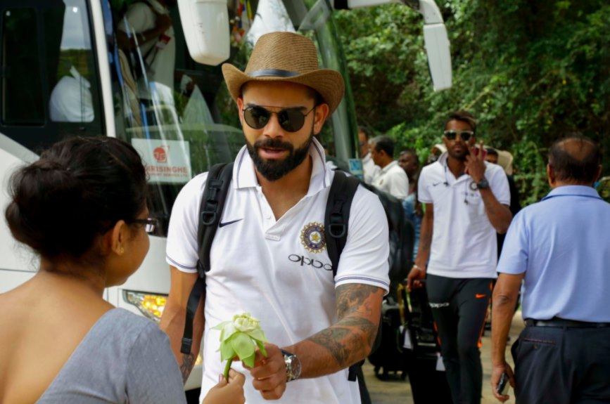 Virat Kohli on arrival at Dambulla