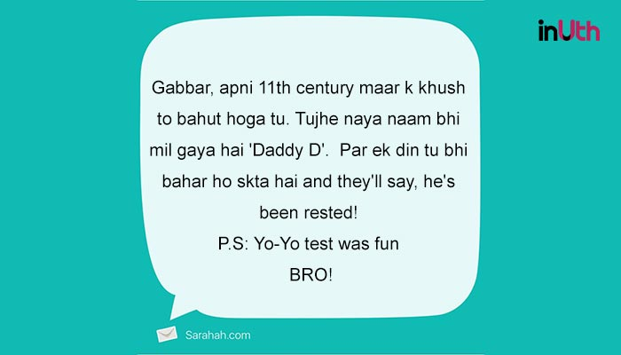 Sarahah message to Shikhar Dhawan