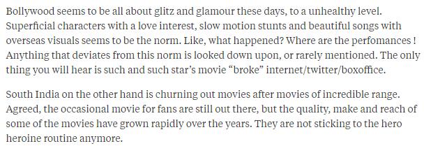 Bollywood vs South Indian cinema