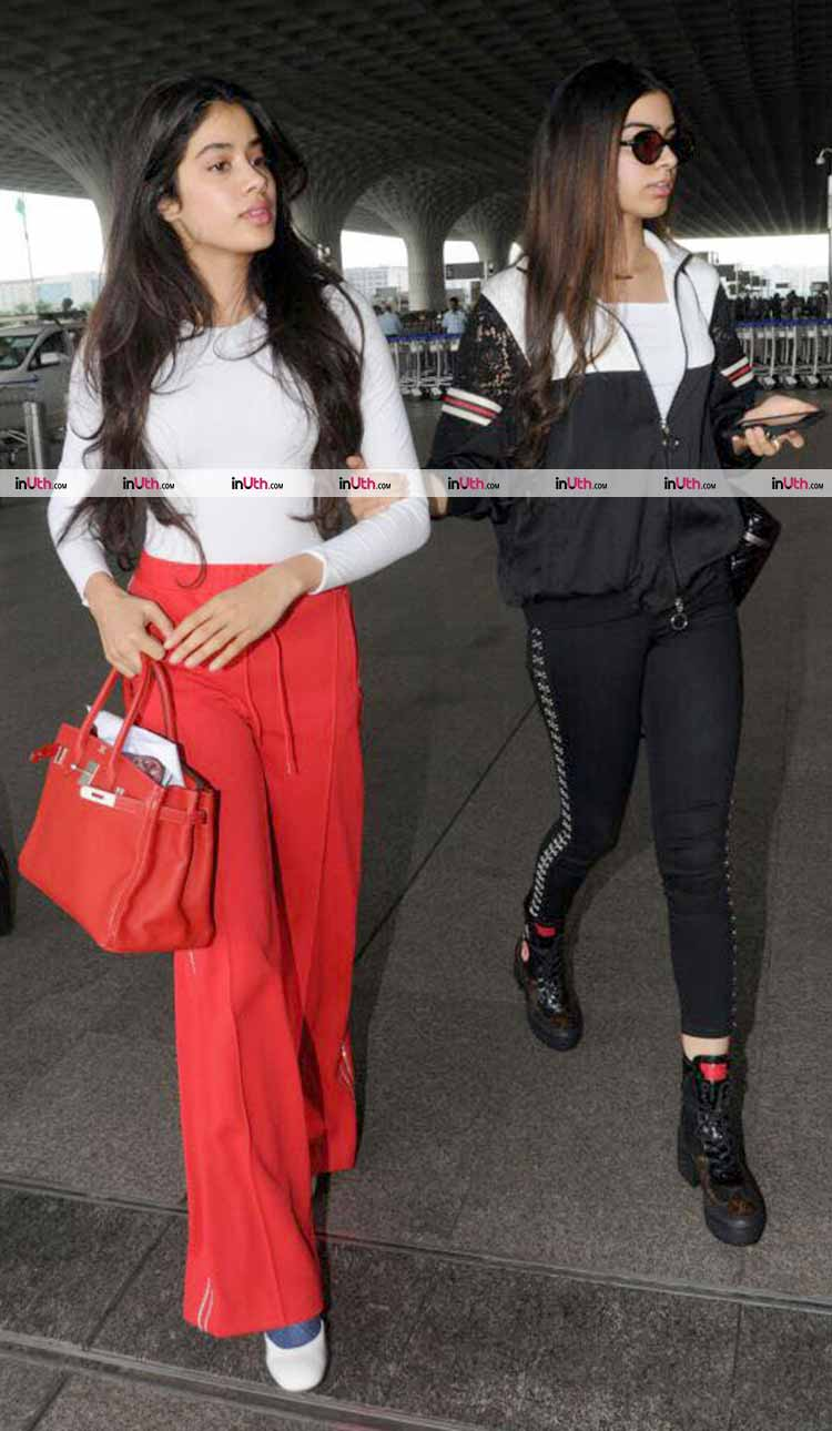 Jhanvi and Khushi Kapoor spotted at the Mumbai airport on Monday