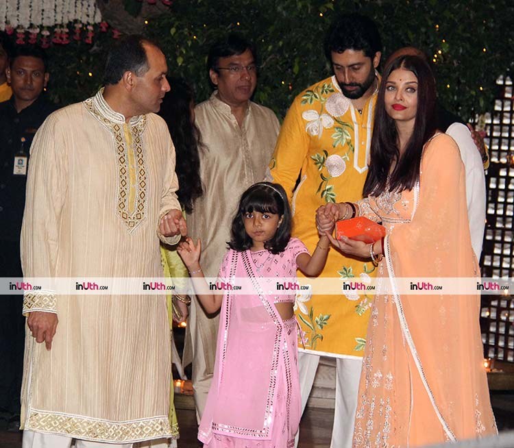 Abhishek, Aishwarya, and Aaradhya Bachchan at Ambani's Ganpati celebrations
