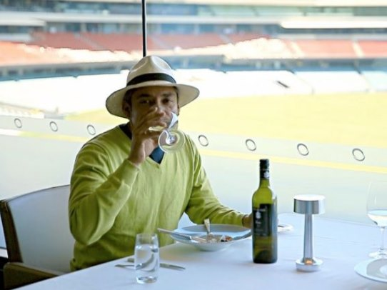 Ajay Jadeja drinking wine in Adelaide