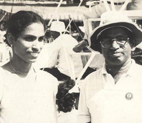 O.M. Nambiar with prodigy P.T. Usha