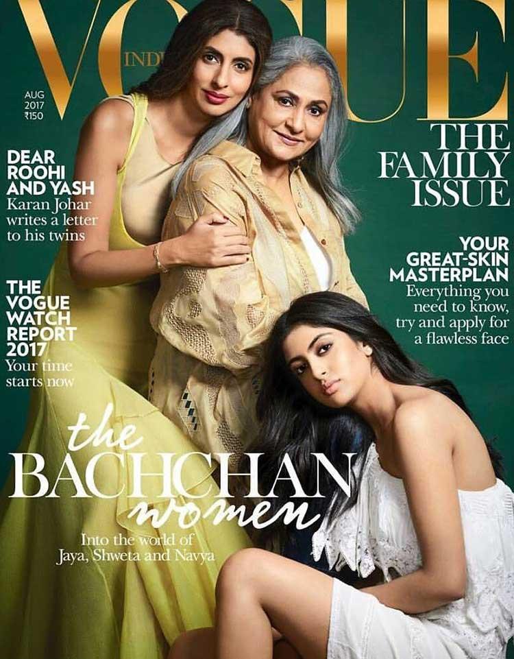 Jaya, Shweta, and Navya on Vogue cover