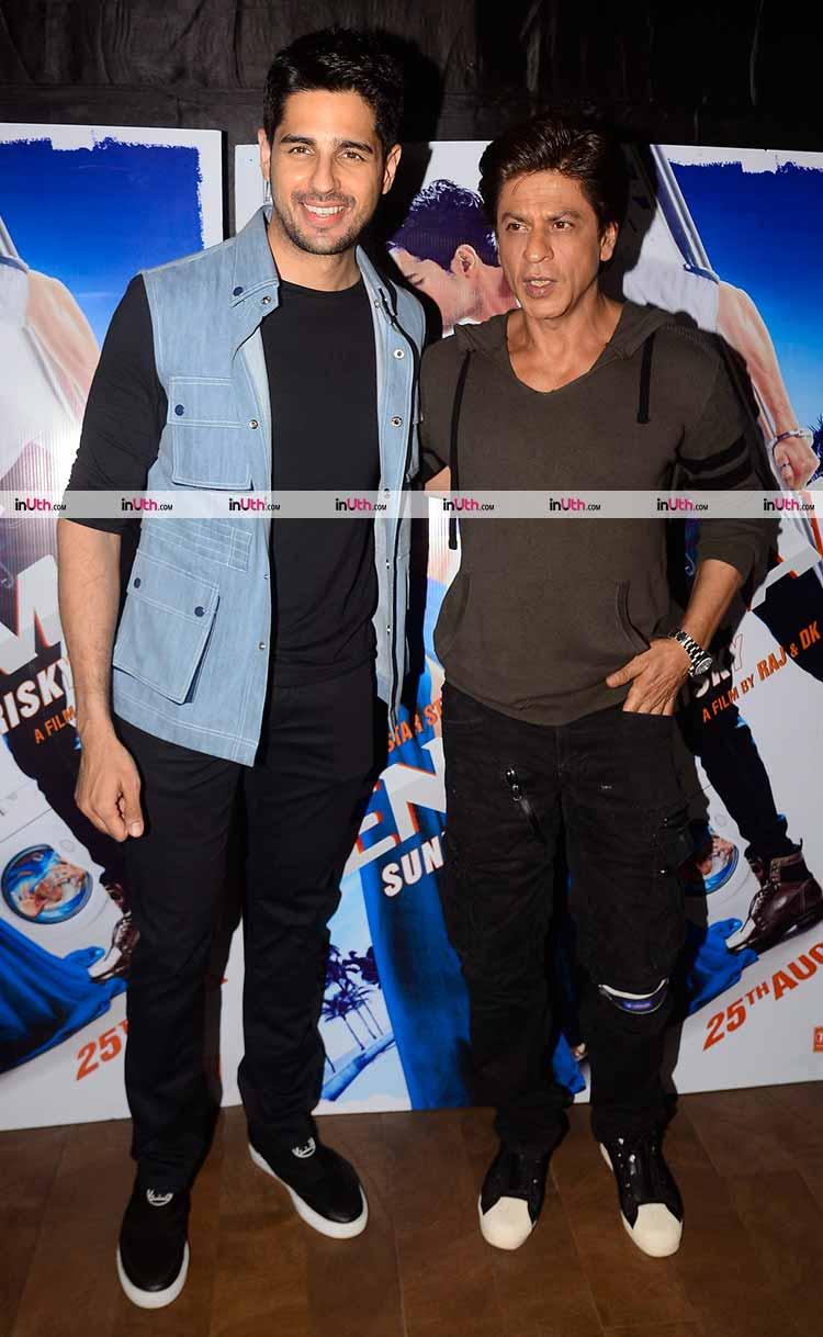 Shah Rukh Khan with Sidharth Malhotra at A Gentleman screening