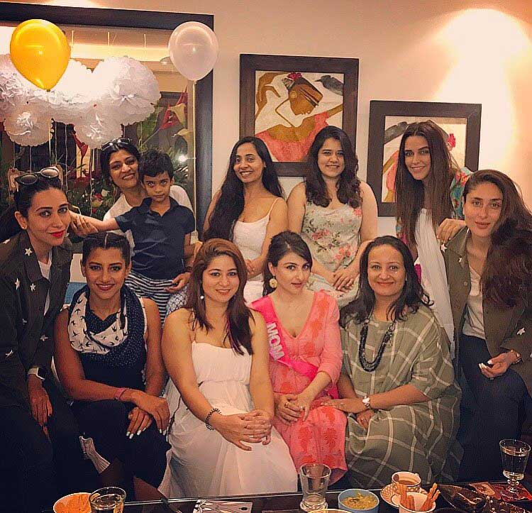 Soha Ali Khan posing with her girls at the baby shower