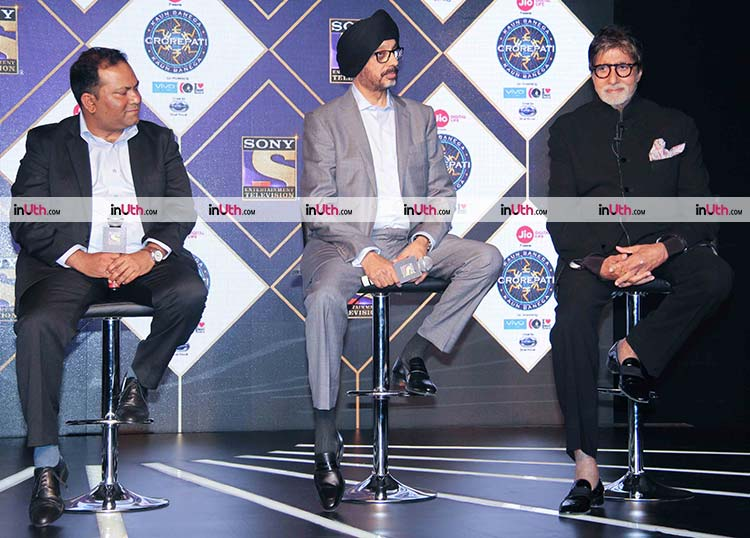 Amitabh Bachchan with NP Singh at Kaun Banega Crorepati 9 launch