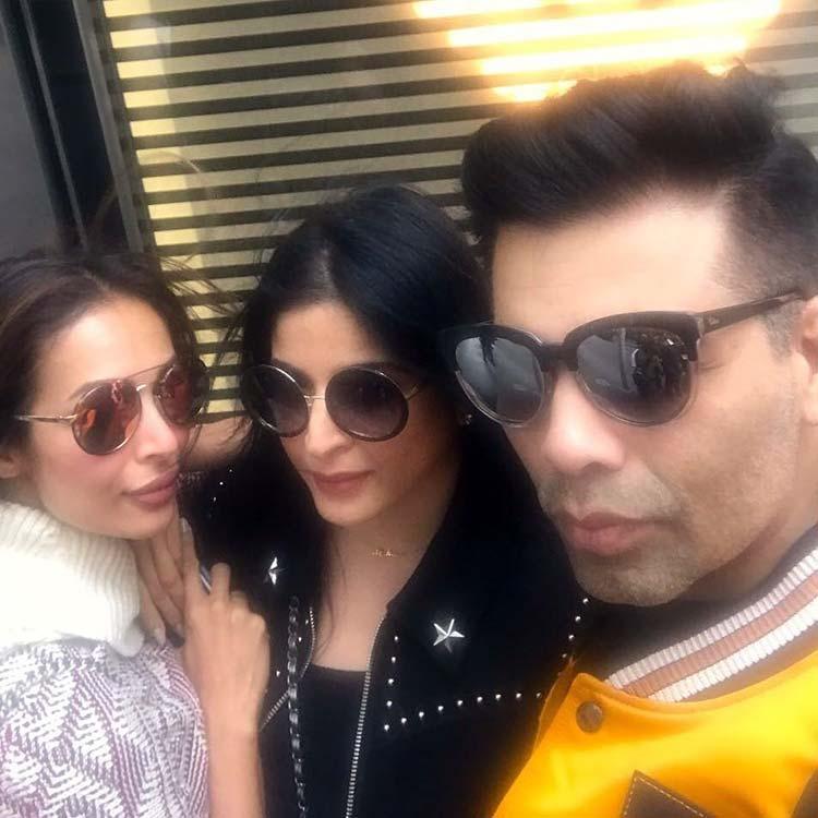 Karan Johar with Malaika Arora Khan and Maheep Kapoor in Melbourne
