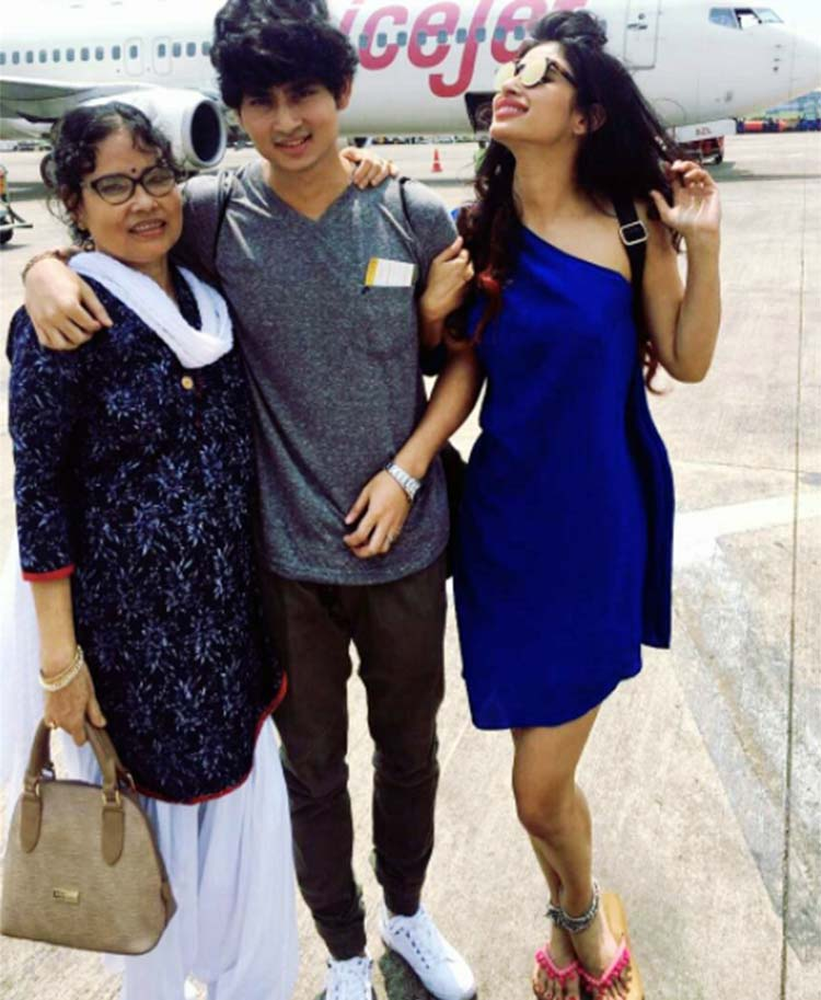 Mouni Roy's personal photo with brother and mother