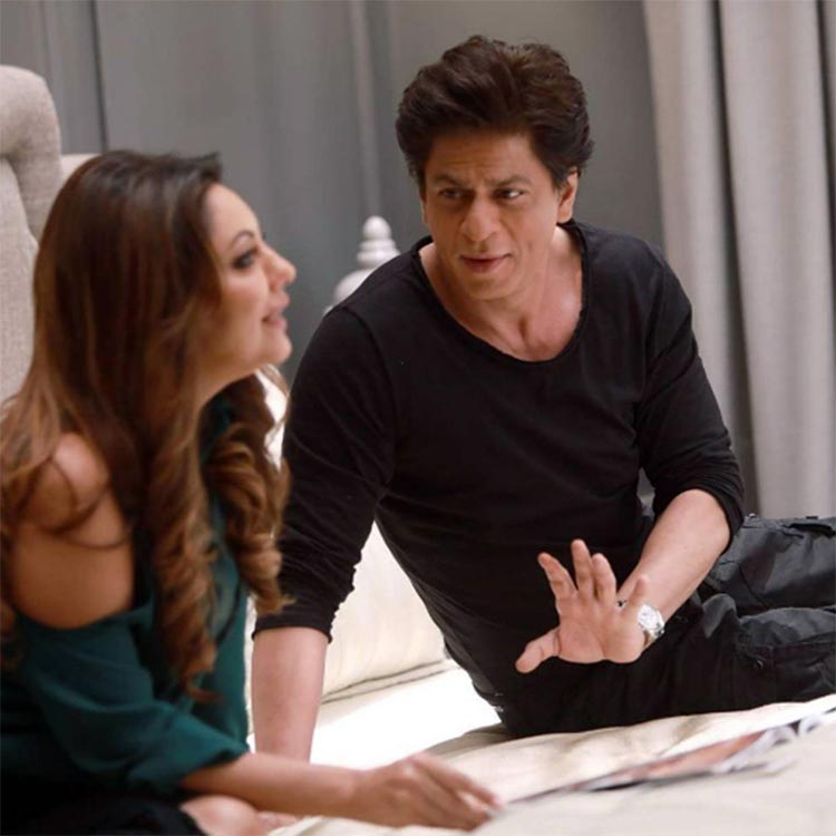 Shah Rukh Khan and Gauri Khan snapped during an ad shoot