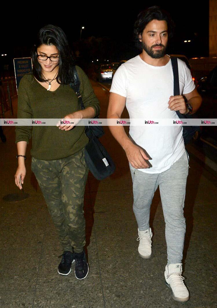 Shruti Haasan at Mumbai airport with Michael Corsale