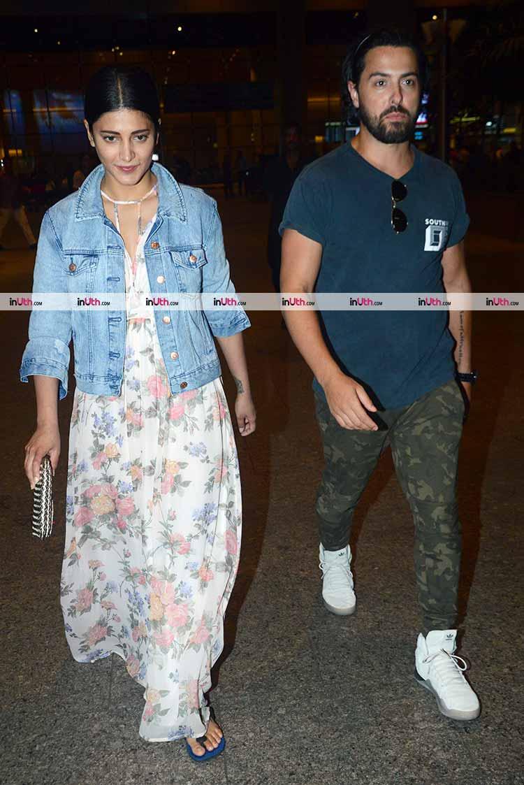 Shruti Haasan snapped with alleged boyfriend at Mumbai airport