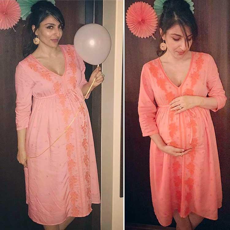 Soha Ali Khan posing at her baby shower