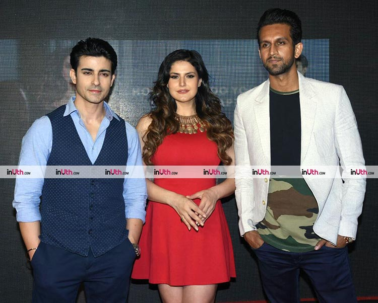 Zarine Khan with Gautam Rode and Mohit Madaan at Aksar 2 second trailer launch