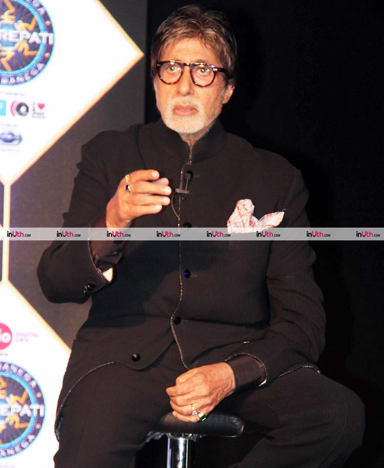 Amitabh Bachchan interacting with the media at Kaun Banega Crorepati 9 launch