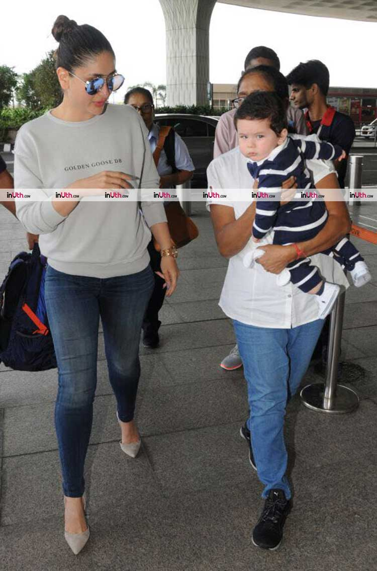 Kareena Kapoor and Taimur leave for Delhi