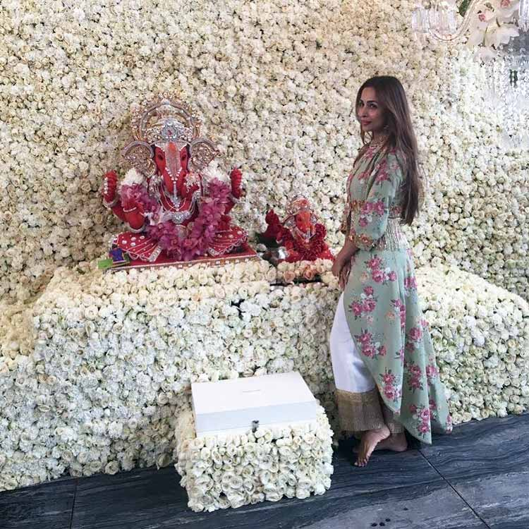 Malaika Arora at Arpita Khan's house for Ganesh Utsav celebrations