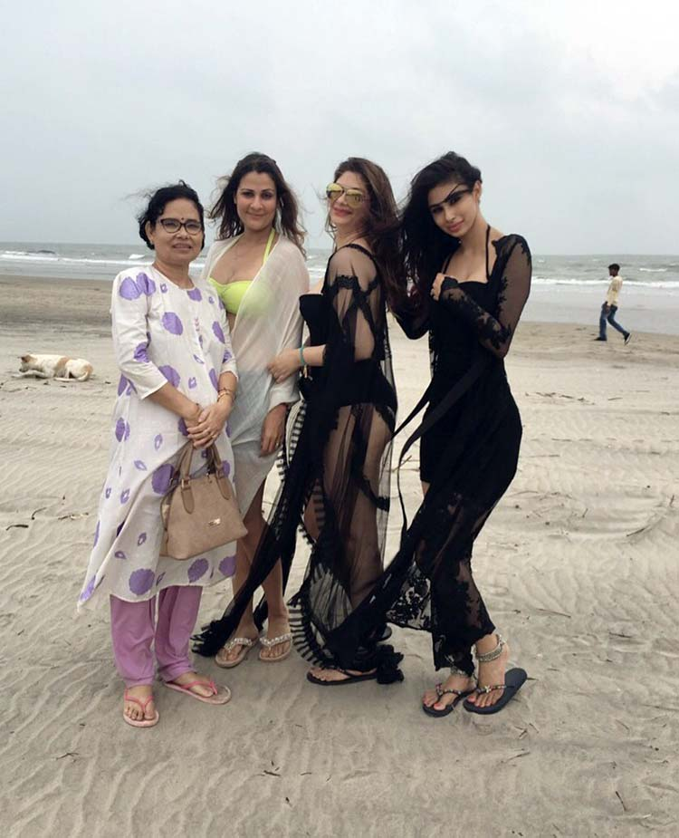 Mouni Roy with her girls at the beach