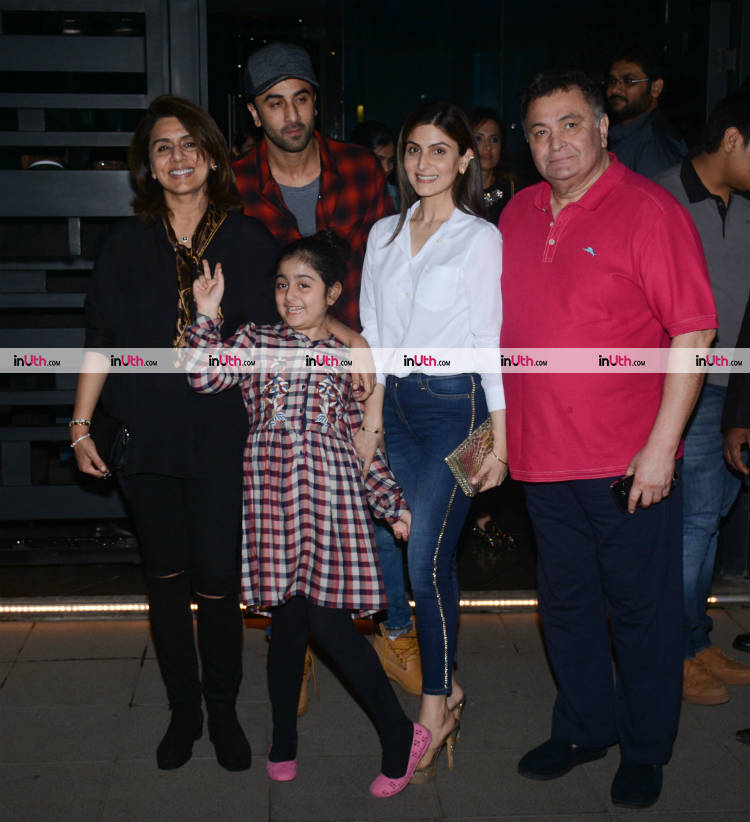 Ranbir Kapoor and family posing for the shutterbugs on January 10, 2018