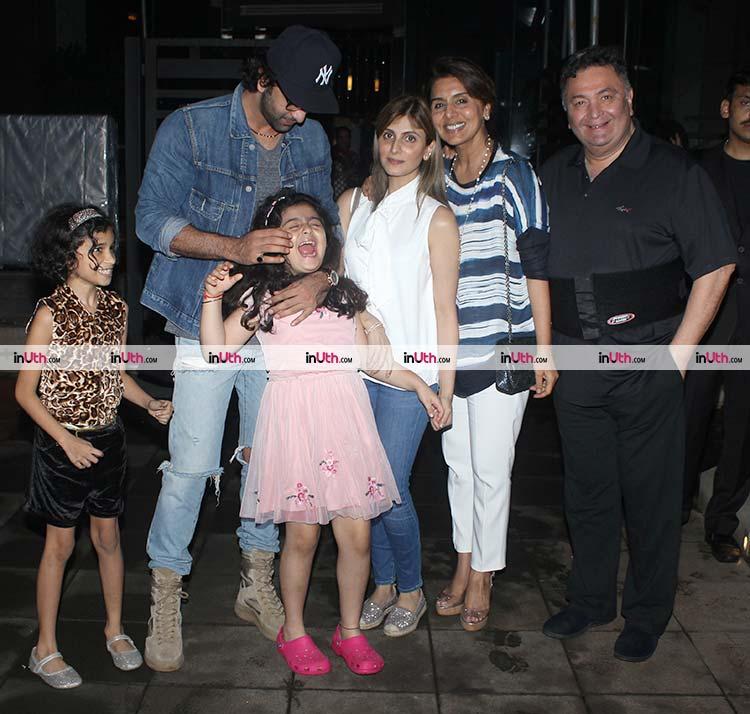 Ranbir Kapoor pulling Samara's cheeks
