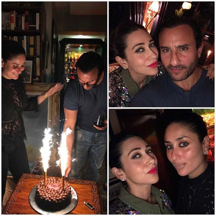 Saif Ali Khan cutting his birthday cake