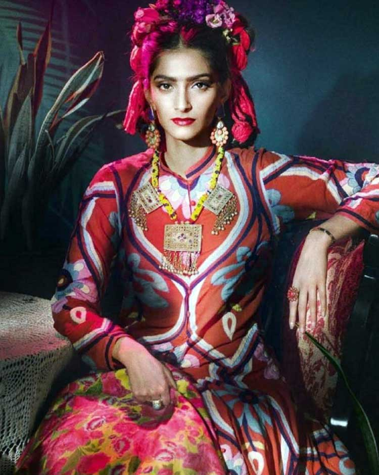 Sonam Kapoor imitating Frida Kahlo in her latest photoshoot