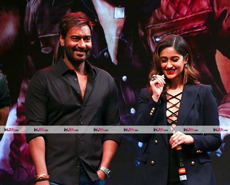 Ajay Devgn with Ileana D'Cruz at Baadshaho trailer launch
