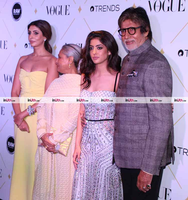 Amitabh Bachchan with Navya Naveli Nanda at the Vogue Beauty awards 2017
