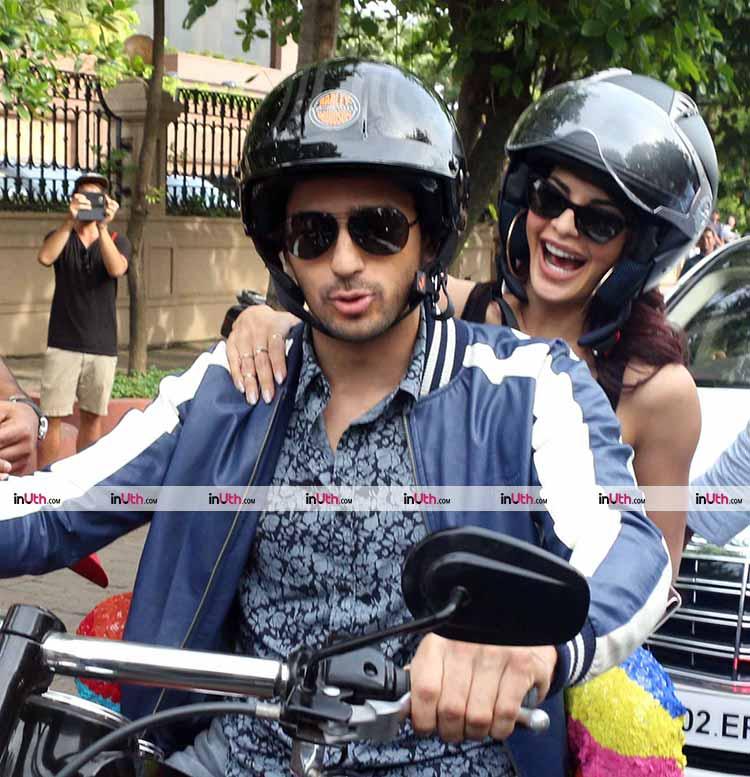 Jacqueline Fernandez and Sidharth Malhotra take a bike ride in Mumbai