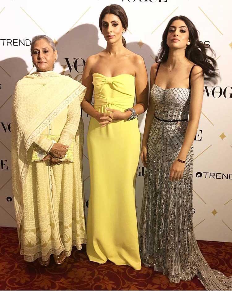 Jaya Bachchan with Shweta and Navya Naveli at Vogue Beauty Awards 2017