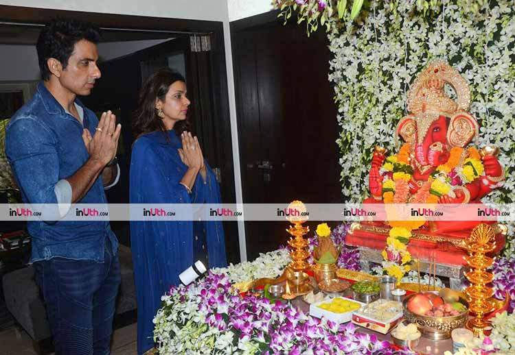 Sonu Sood celebrating Ganesh Chaturthi with wife Sonali Sood