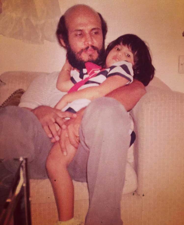 Jacqueline Fernandez playing with her father