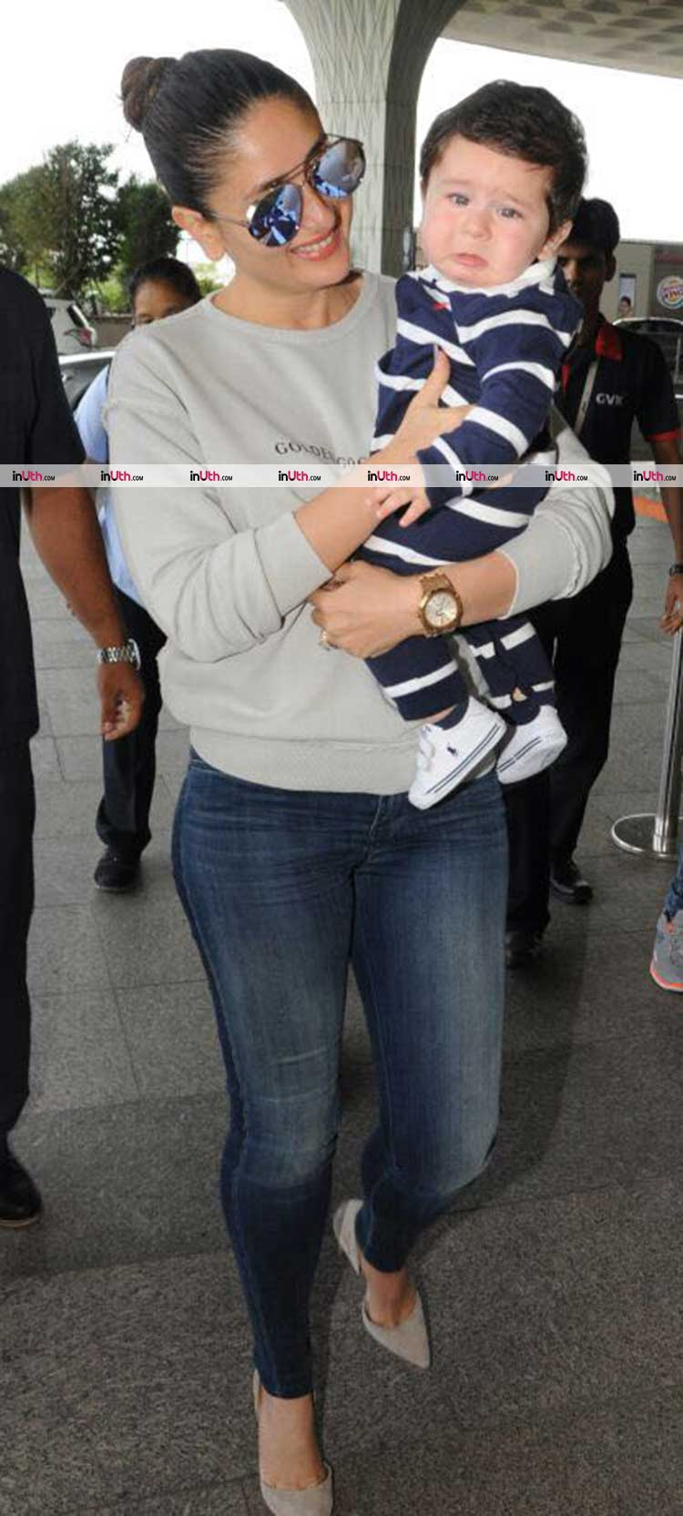 Kareena Kapoor and Taimur pose for the cameras