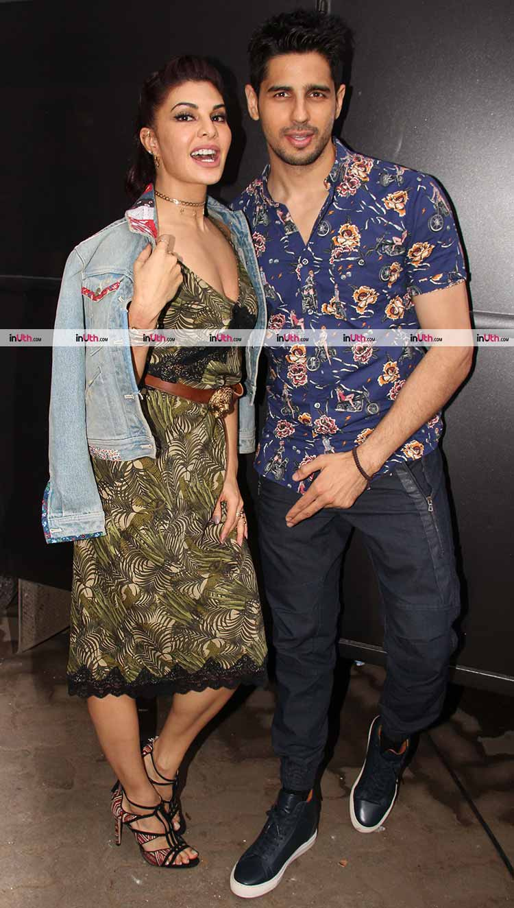 Sidharth Malhotra with Jacqueline Fernandez at A Gentleman promotions