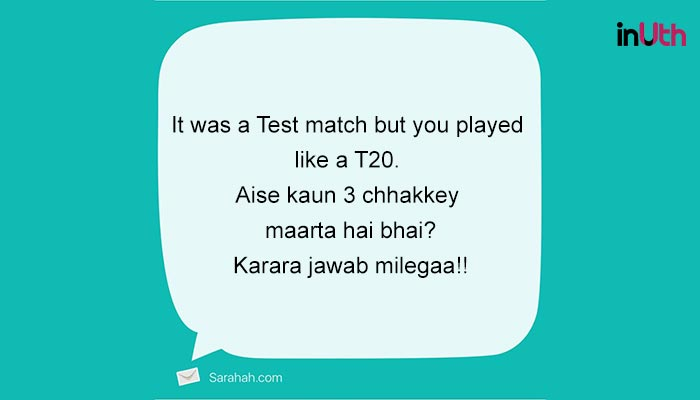 Sarahah message for Hardik Pandya