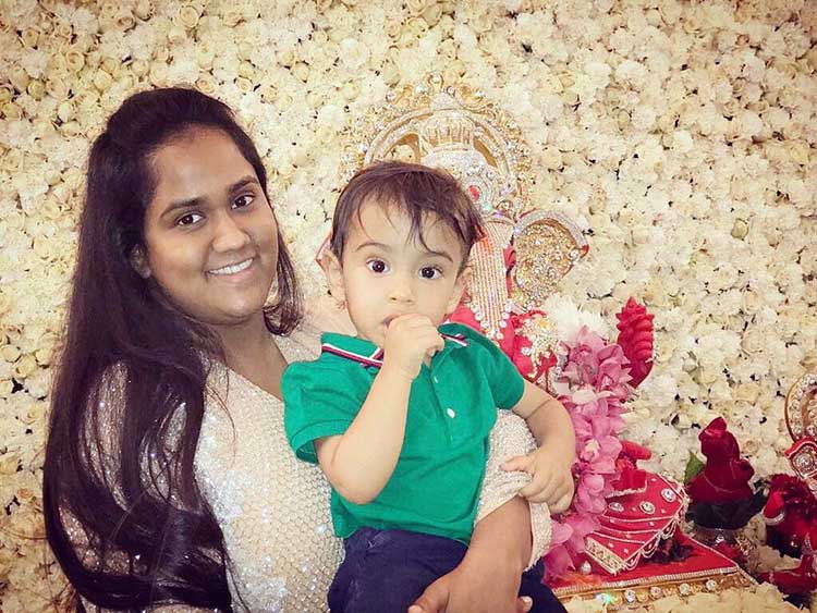 Arpita Khan with son Ahil during Ganesh Utsav celebrations