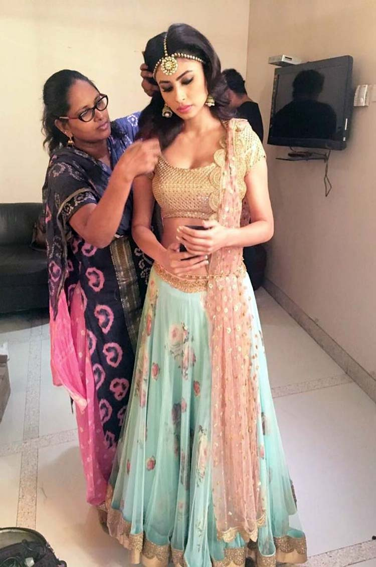 Mouni Roy getting ready for her Diwali special performance
