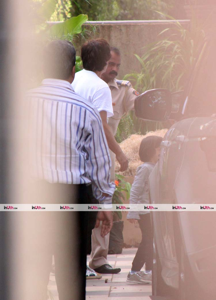 Shah Rukh Khan and AbRam on their way to meet Gauri