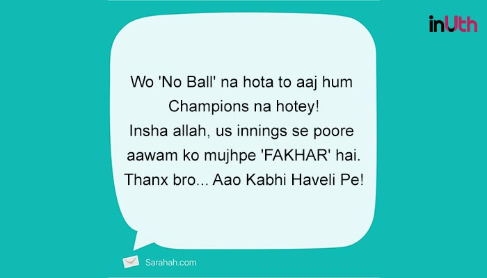 Thanks giving to Jasprit Bumrah on Sarahah