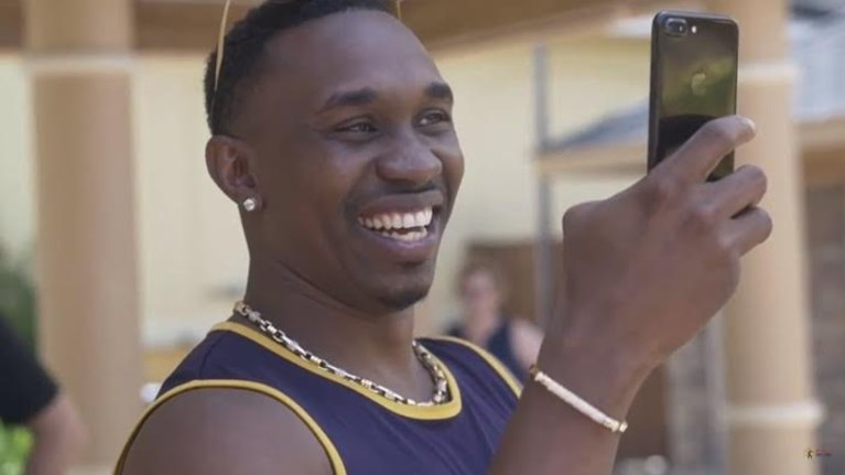 Dwayne Bravo shoots the video
