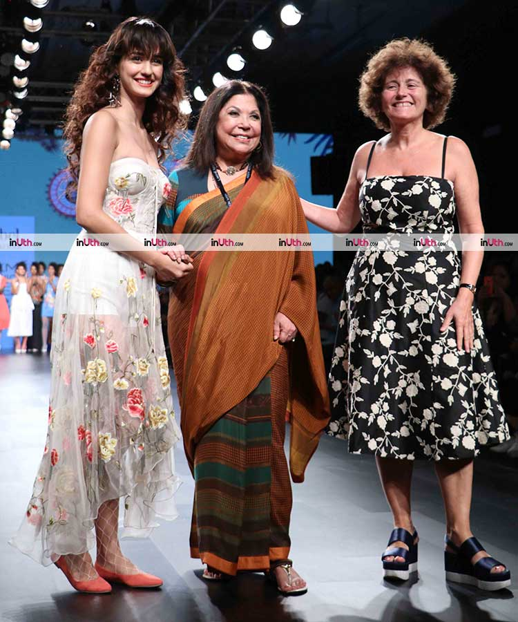 Disha Patani with Ritu Kumar on the Lakme Fashion week 2017 ramp