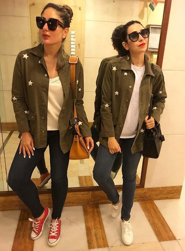 Karishma and Kareena Kapoor twinning at Soha Ali Khan's baby shower