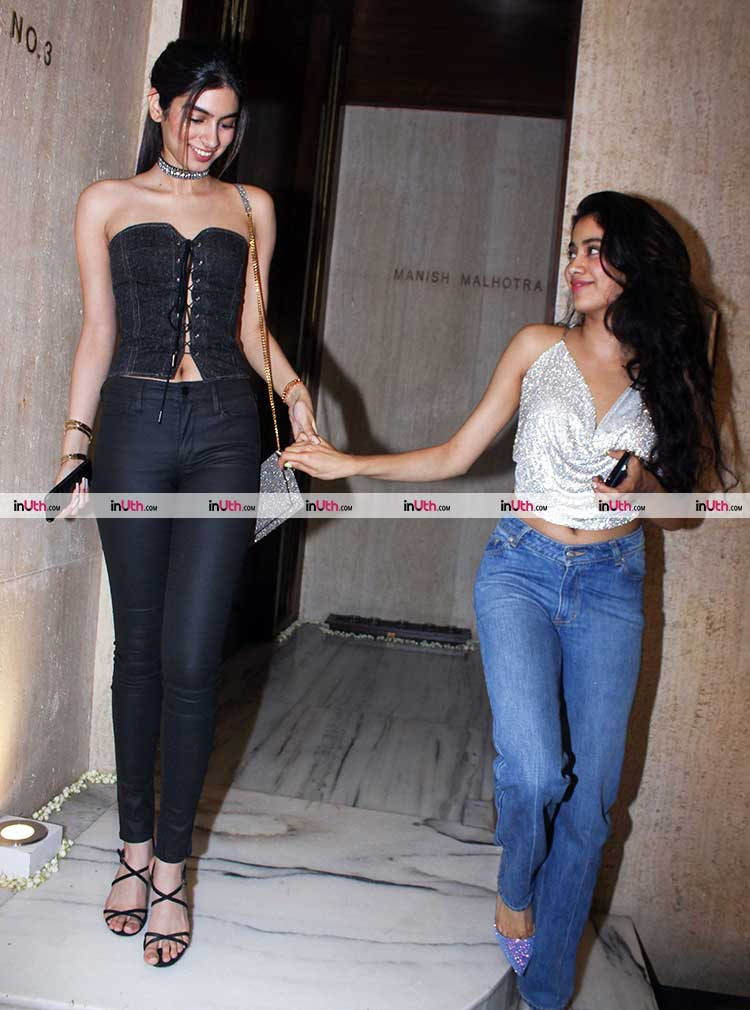 Khushi Kapoor with sister Jhanvi Kapoor at Manish Malhotra's house
