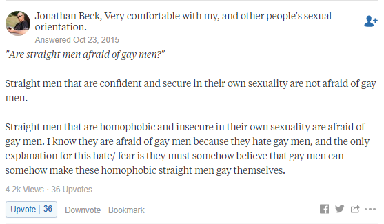 Straight men afraid of gay