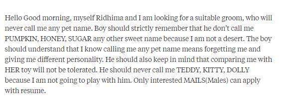 Ridiculous Matrimonial profiles