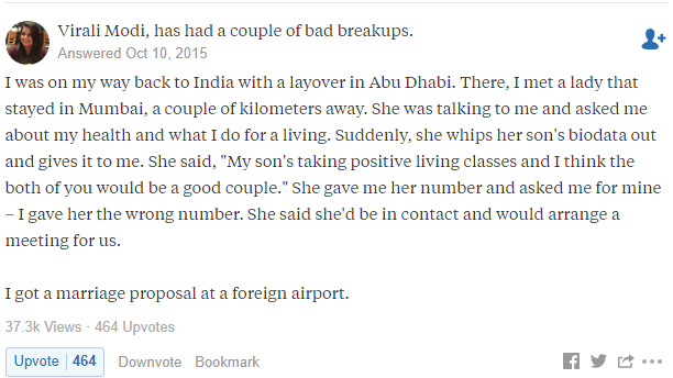 Quora Awkward arranged marriage