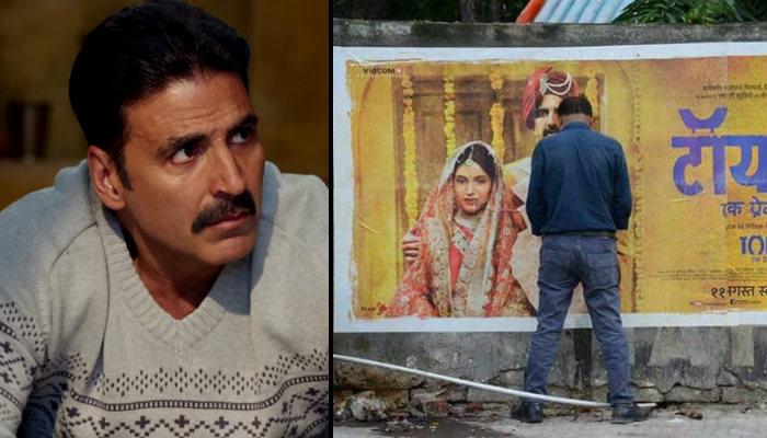 Akshay Kumar and man peeing on Toilet Ek Prem Katha poster, inuth.com