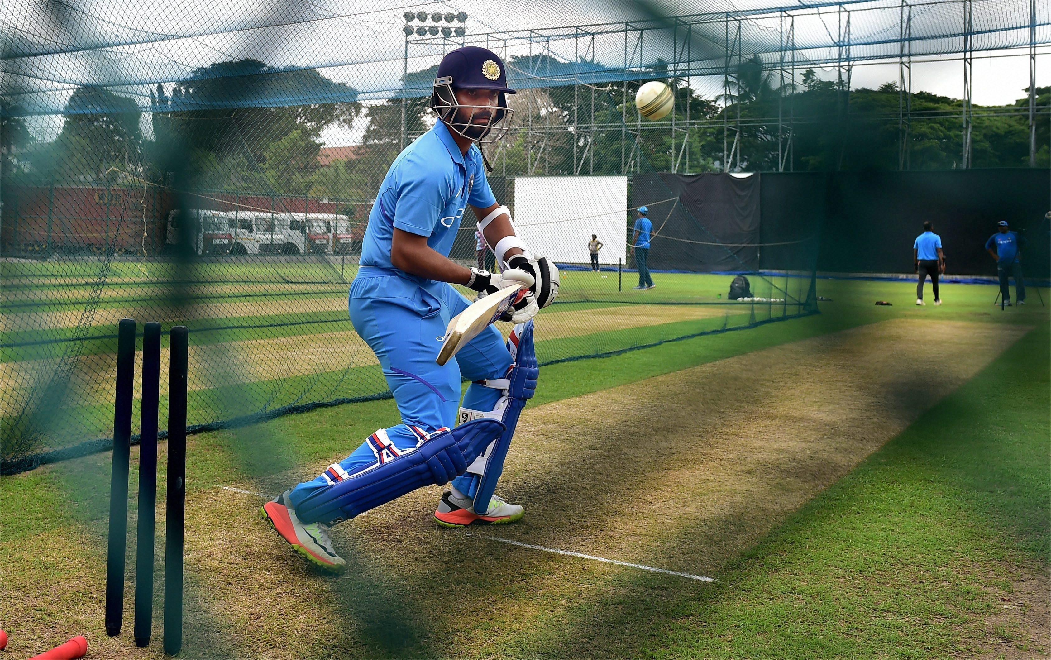 Ajinkya Rahane bats during a practice session in Kandy
