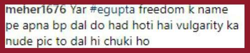Comment on Esha Gupta's photo