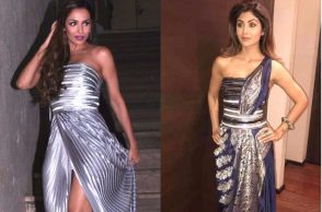 Malaika Arora and Shilpa Shetty in Amit Aggarwal couture